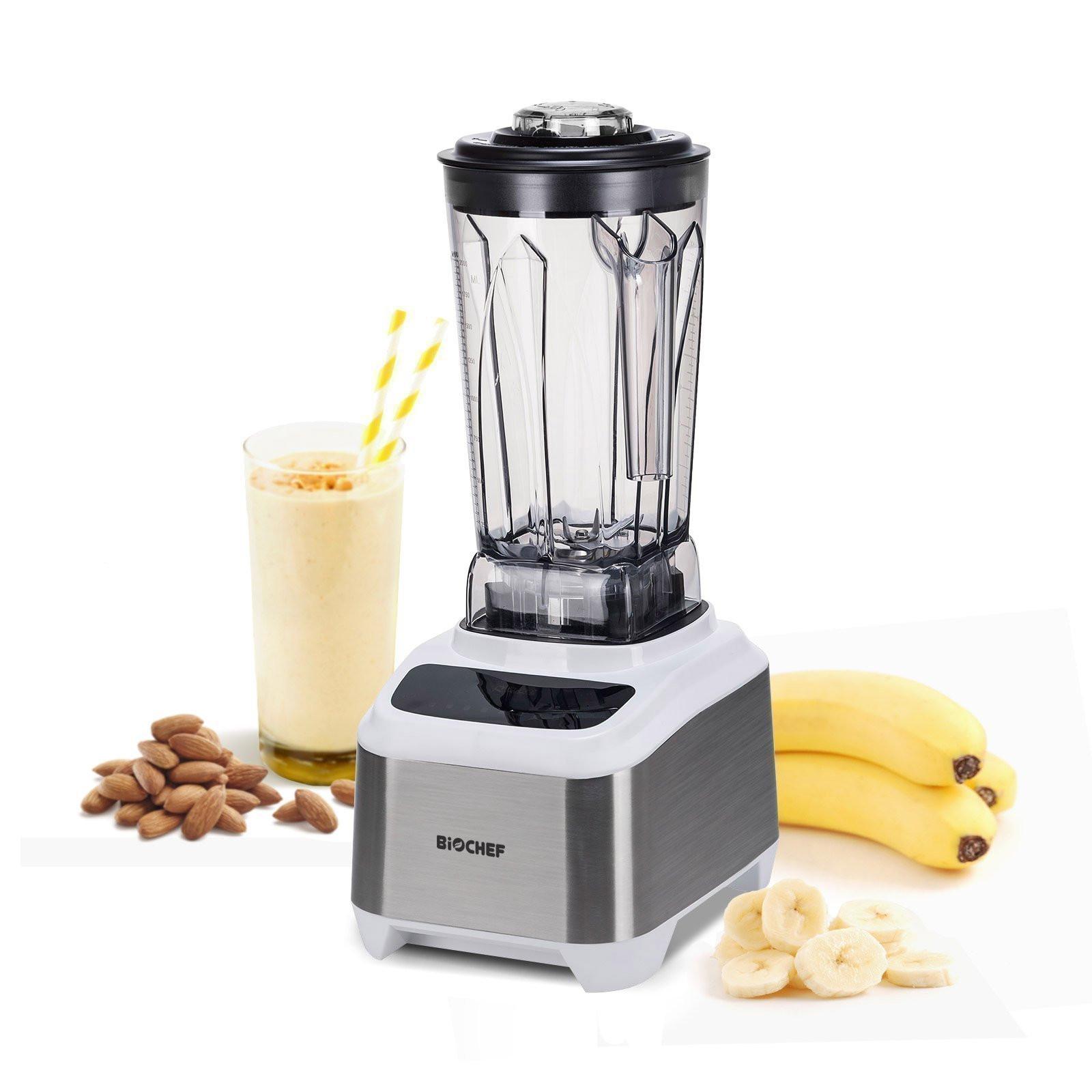BioChef Atlas Power Blender White Sideways Fruit